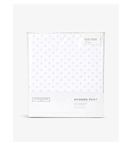 THE WHITE COMPANY Avignon printed cotton single duvet cover (White/grey