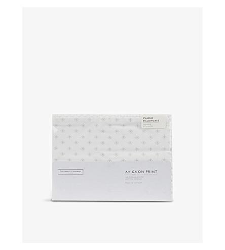 THE WHITE COMPANY Avignon Print cotton square housewife pillowcase (White/grey