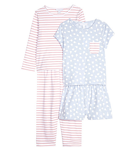 THE LITTLE WHITE COMPANY Apple Orchard & striped cotton pyjams two pack 6-12 years (Pink