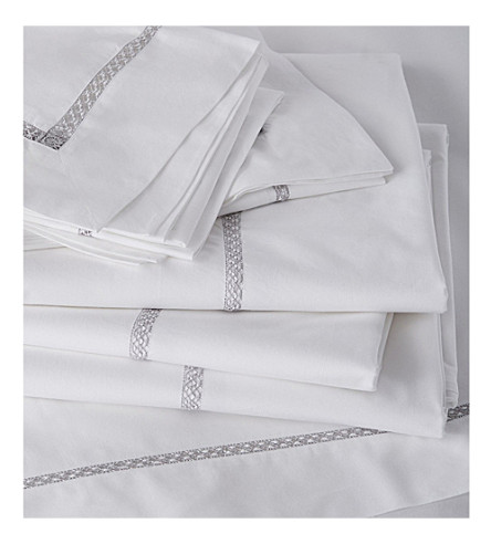 THE WHITE COMPANY Ardleigh romance pillowcase standard (White/grey