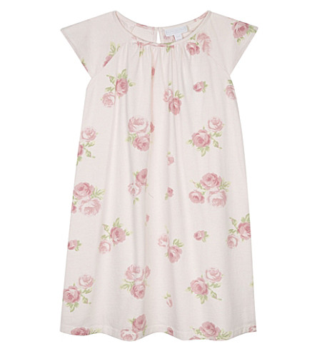 THE LITTLE WHITE COMPANY Ava floral cotton nightdress 1-6 years (Pink