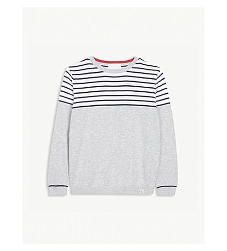 THE LITTLE WHITE COMPANY Boat stripe cotton jumper 0-24 months (White