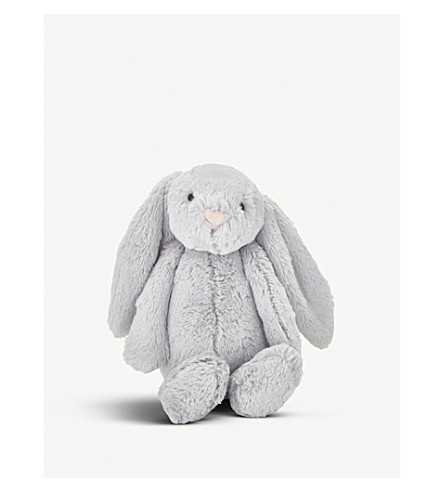 THE LITTLE WHITE COMPANY Bashful bunny medium soft toy 30cm (Silver