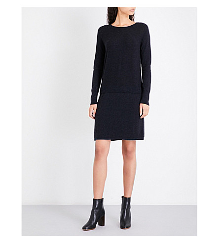THE WHITE COMPANY Button-back wool and cotton-blend dress (Charcoal+marl