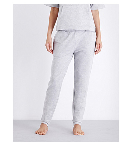THE WHITE COMPANY Brushed-back jersey jogging bottoms (Silvergreymarl