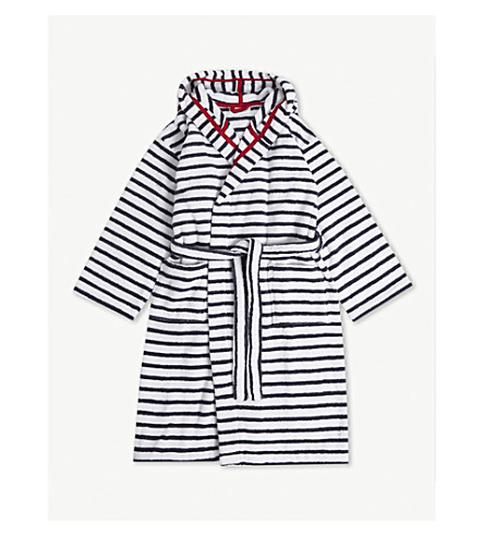 THE LITTLE WHITE COMPANY Breton stripe cotton dressing gown 7-12 years (Multi