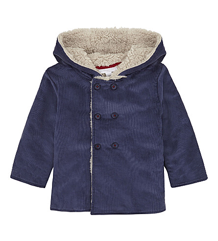 THE LITTLE WHITE COMPANY Bear coat 0-24 months (Blue+indigo