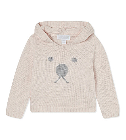 THE LITTLE WHITE COMPANY Bear face hoodie 0 - 24 months (Pink