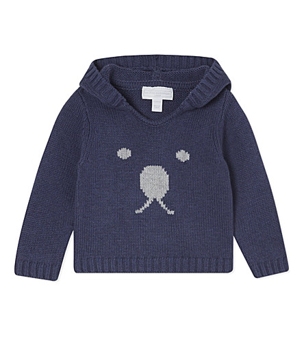 THE LITTLE WHITE COMPANY Bear face hoodie 0-24 months (Navy