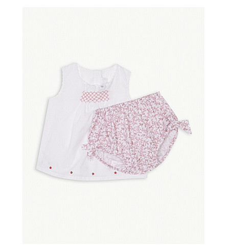 THE LITTLE WHITE COMPANY Floral blouse and bloomer cotton set 0-24 months (Pink