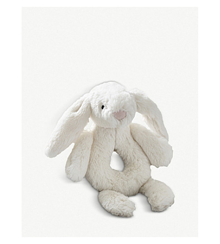 THE LITTLE WHITE COMPANY Bashful bunny rattle 18cm (Cream