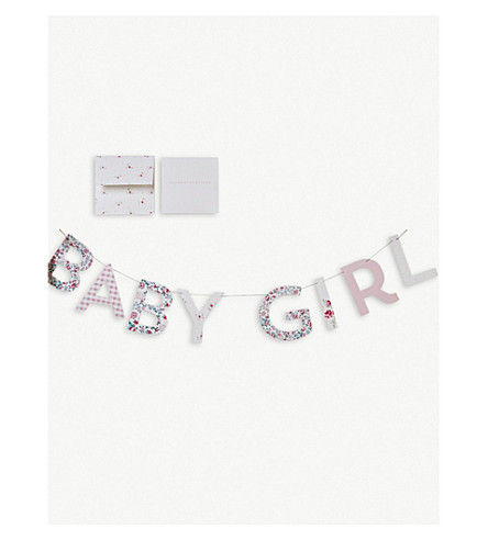 THE LITTLE WHITE COMPANY Baby Girl bunting and card