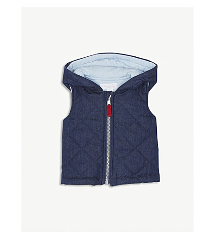 THE LITTLE WHITE COMPANY Bear ears hooded cotton gilet 0-24 months (Indigo