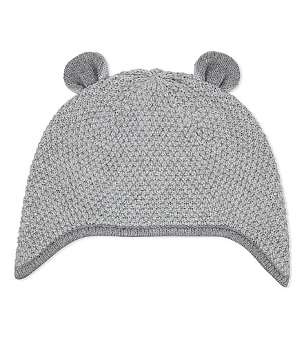 THE LITTLE WHITE COMPANY Knitted cotton bear hat (Silvergreymarl