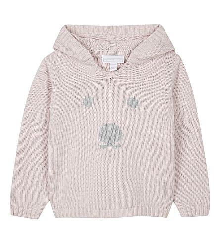 THE LITTLE WHITE COMPANY Bear face cotton hoody (Pink