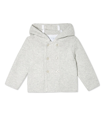 THE LITTLE WHITE COMPANY Bear ears cotton cardigan Small newborn-24 months (Ecru