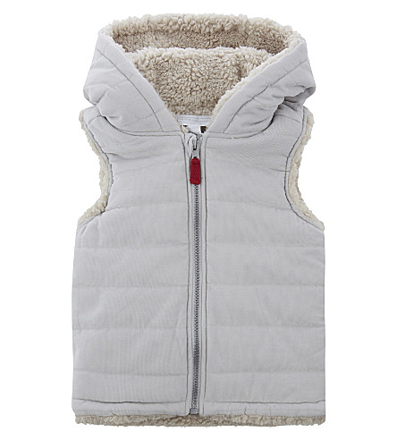 THE LITTLE WHITE COMPANY Faux-fur bear ears hooded gilet 0-24 months (Grey
