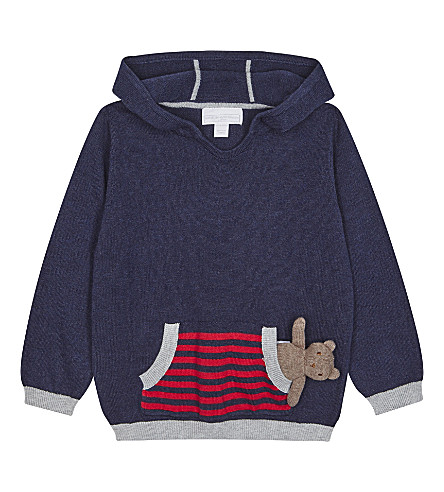 THE LITTLE WHITE COMPANY Teddy bear toy hooded jumper 0-24 months (Navy+marl