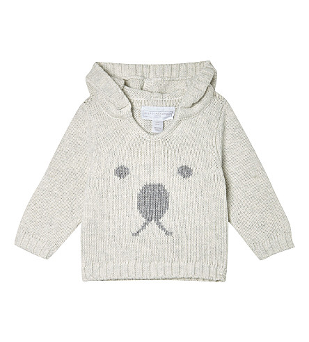 THE LITTLE WHITE COMPANY Baby bear face hoodie 0-18 months (Ecru