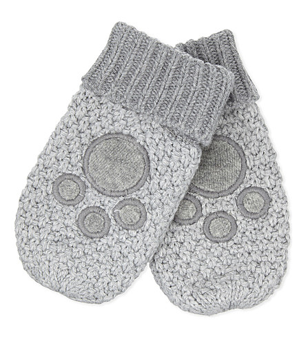 THE LITTLE WHITE COMPANY Cotton Bear mittens 0-12 months (Silvergreymarl