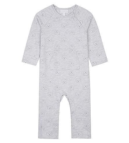 THE LITTLE WHITE COMPANY Bear print cotton baby-grown Newborn-24 months (Grey