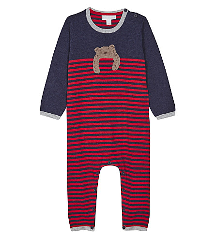 THE LITTLE WHITE COMPANY Knitted striped babygrow 0-24 months (Blue+marl