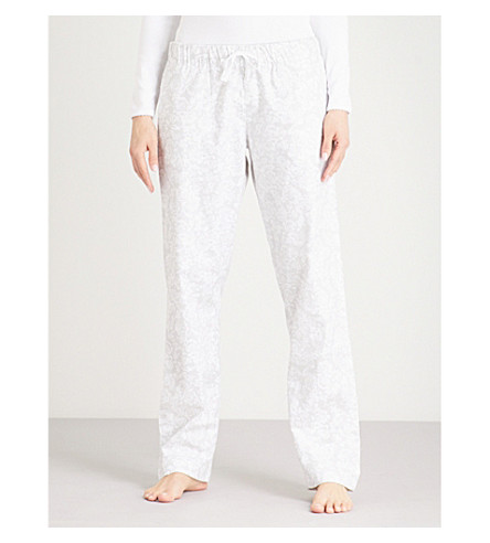 THE WHITE COMPANY Floral pattern cotton pyjama bottoms (Grey/white