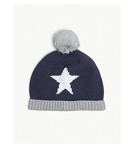 THE LITTLE WHITE COMPANY Glow-in-the-dark star hat 0-12 months (Indigo+marl