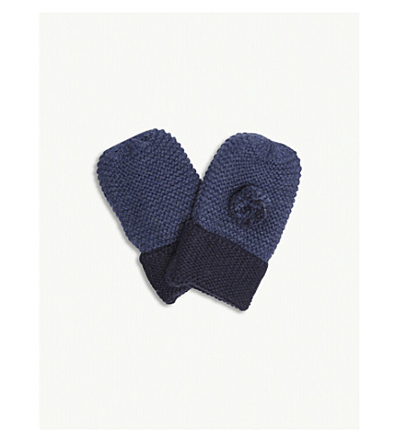 THE LITTLE WHITE COMPANY Pompom knitted cotton-wool blend mittens 0-12 months (Indigo+marl