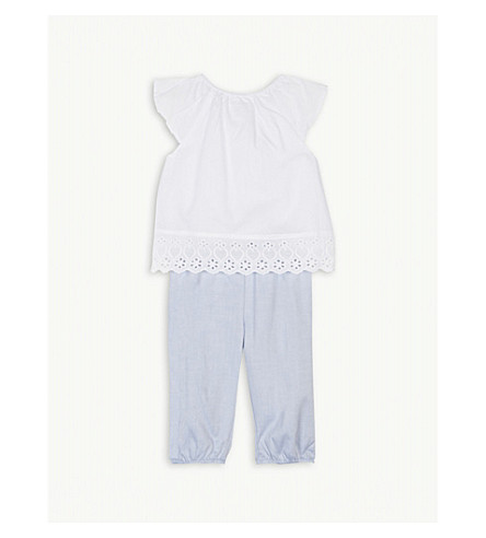 THE LITTLE WHITE COMPANY Embroidered blouse and trousers cotton set 0-24 months (White/blue