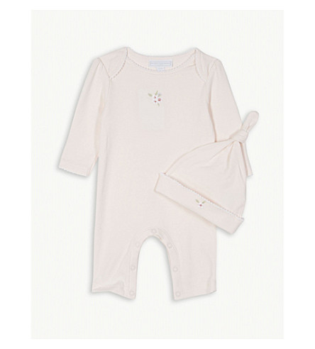 THE LITTLE WHITE COMPANY Blossom cotton sleepsuit and hat 0-24 months (Pink
