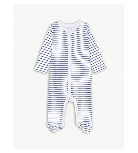 THE LITTLE WHITE COMPANY Stripe cotton sleepsuit 0-24 months (White/blue