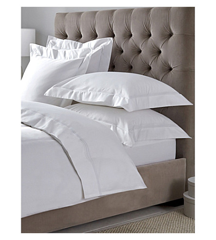 THE WHITE COMPANY Belgravia Egyptian cotton double deep fitted sheet (White