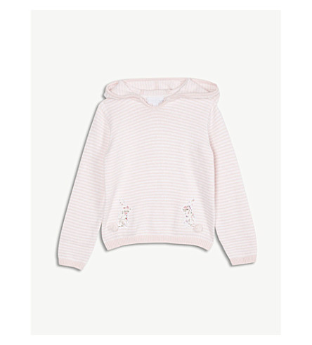 THE LITTLE WHITE COMPANY Bunny knitted cotton-blend hoody 1-6 years (Multi