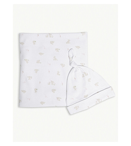 THE LITTLE WHITE COMPANY Bunny print blanket and hat set 0-12 months (White