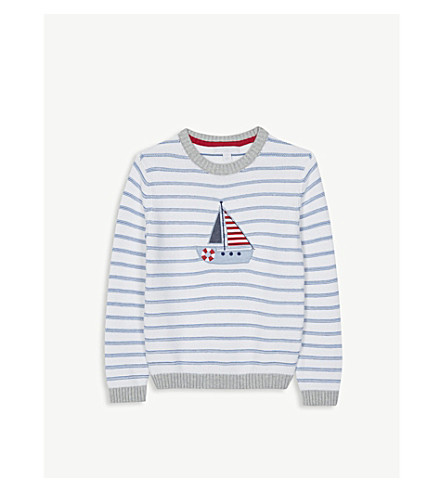 THE LITTLE WHITE COMPANY Boat appliqué striped cotton jumper 1-6 years (White