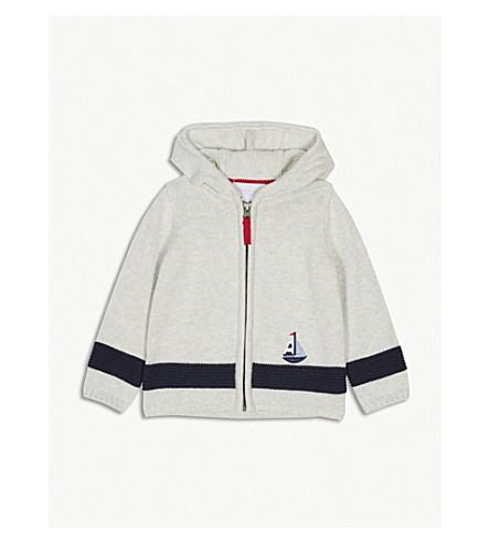 THE LITTLE WHITE COMPANY Boat zip cotton hoody 0-24 months (Ecru+marl