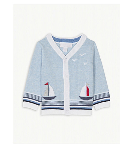 THE LITTLE WHITE COMPANY Sailboat knitted cotton cardigan 0-24 months (Blue