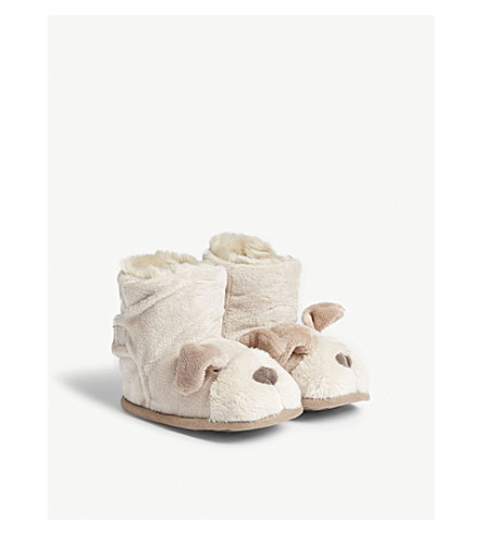 THE LITTLE WHITE COMPANY Faux-fur Puppy bootees 0-24 months (Brown