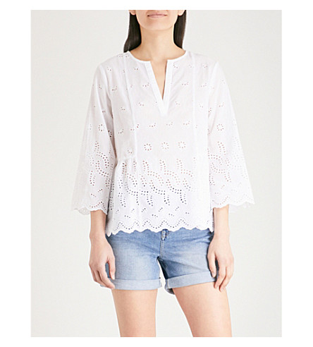 THE WHITE COMPANY Broderie anglaise peplum blouse (White