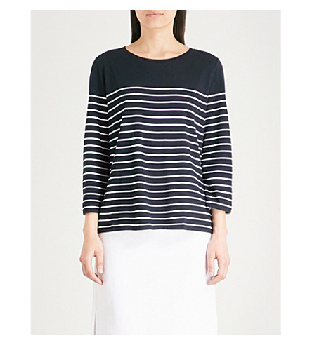 THE WHITE COMPANY Breton striped jersey top (Navy/white