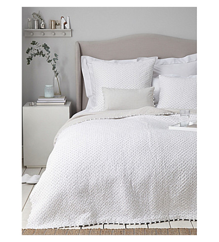 THE WHITE COMPANY Brittany double cotton voile quilt (White/grey