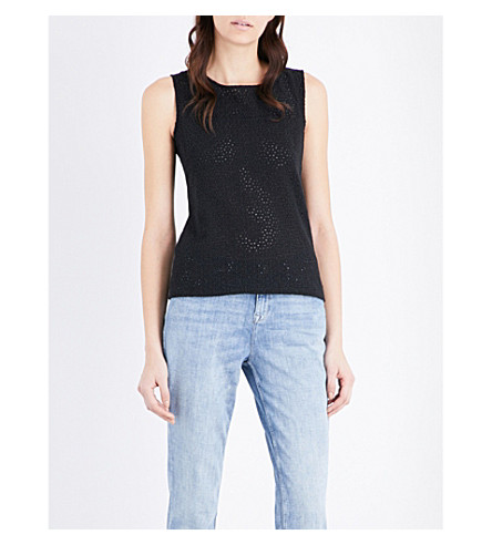 THE WHITE COMPANY Broderie button back embroidered top (Black