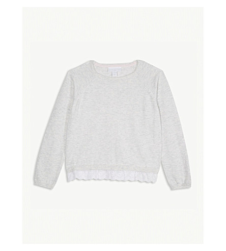 THE LITTLE WHITE COMPANY Broderie hem cotton-blend jumper 1-6 years (Ecru+marl