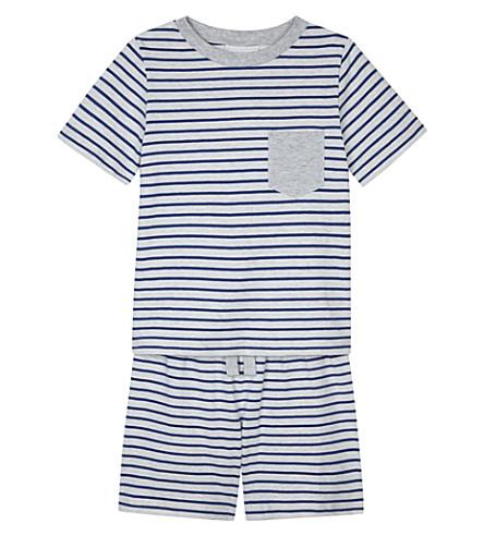 THE LITTLE WHITE COMPANY Breton stripe cotton pyjamas 1-6 years (Blue+stripe