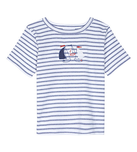 THE LITTLE WHITE COMPANY Striped boat T-shirt 1-6 years (White