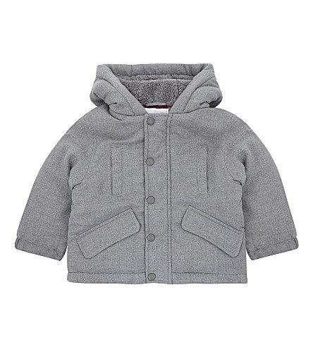 THE LITTLE WHITE COMPANY Brushed twill coat 1-6 years (Grey