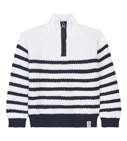 THE LITTLE WHITE COMPANY Breton stripe knitted cotton half-zipper sweater 1-6 years (White