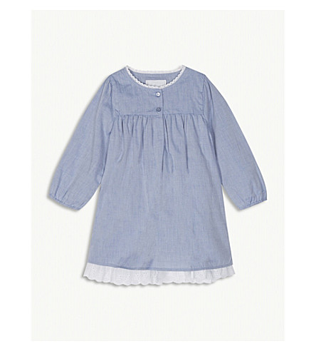 THE LITTLE WHITE COMPANY Broderie hem cotton chambray dress 0-24 months (Chambray