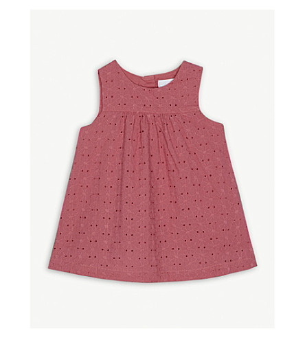 THE LITTLE WHITE COMPANY Floral broidery cotton dress 0-24 months (Rose